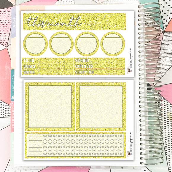 NOTE013 // Notes Pages Kit // Yellow Glitter