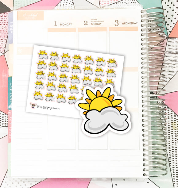 Partly Sunny Weather // Planner Stickers