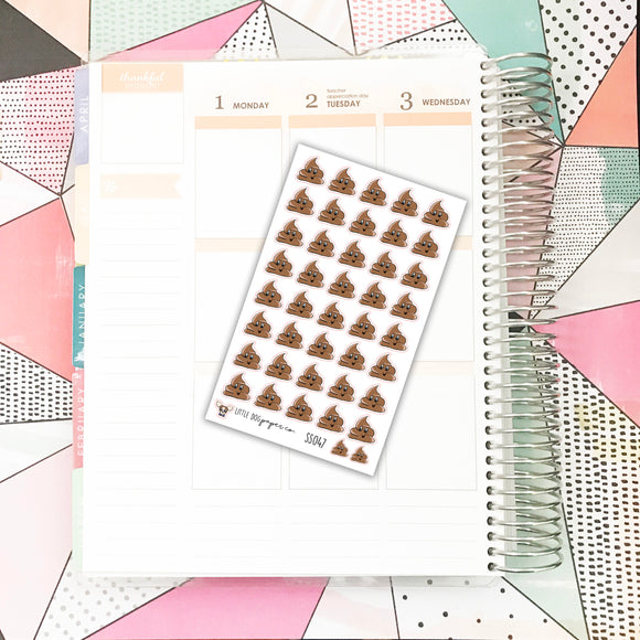 SS047 // Happy Poop // Planner Stickers