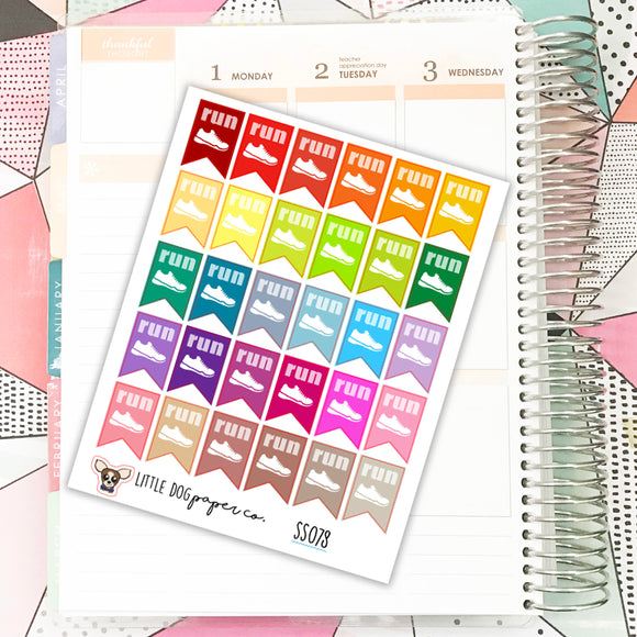 SS078 // Run Flags // Planner Stickers