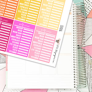 SS026 // Stackable Sidebar | Self Care Tracker | Warm Colors // Planner Stickers