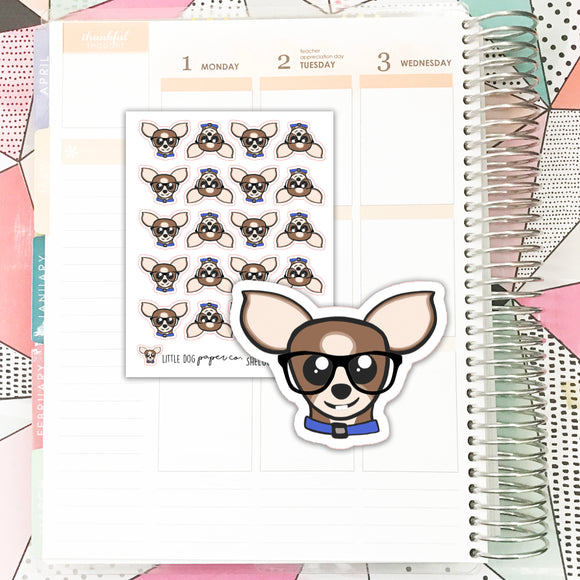 SHEL001 // Sheldon Glasses Face // Planner Stickers