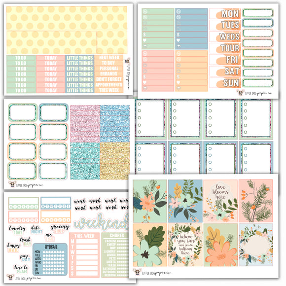 WK03 Soft Floral Weekly Collection // Planner Stickers
