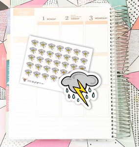 Thunderstorms Weather // Planner Stickers
