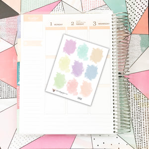 SS048 // 9 Pastel Watercolor Stickers for Your Life Planner Scrapbook Stickers Planner Stickers