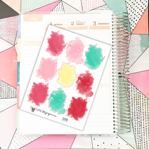 SS098 // 9 Bright Watercolor Stickers // Planner Stickers