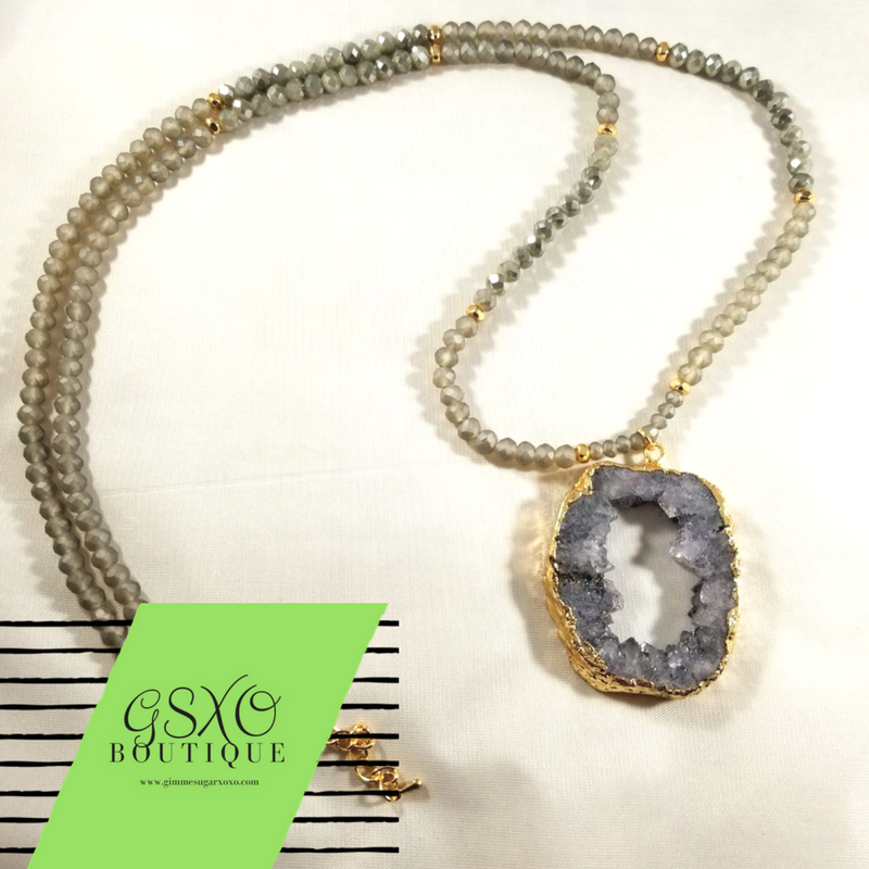 Fifty shades of grey druzy necklace gimme sugar homemade body fifty shades of grey druzy necklace aloadofball Gallery