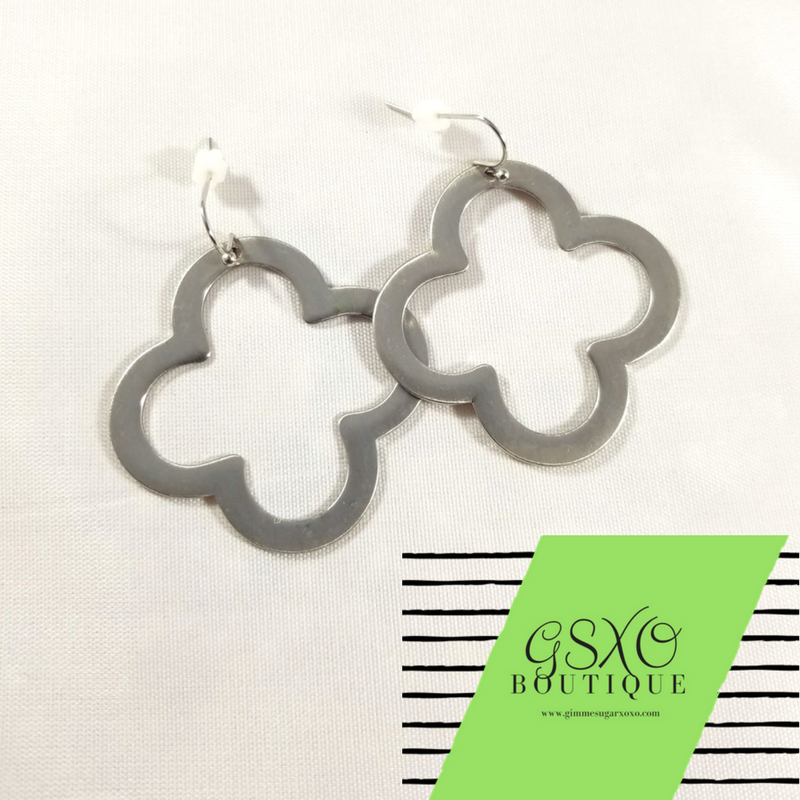 Silver Quatrefoil Earrings