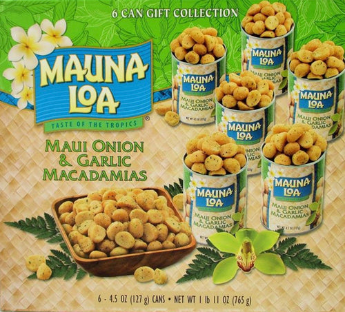 Maui Onion & Garlic Premium Roasted Macadamias, Island Classics 6-Tin Gift Pack
