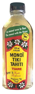 Monoi Tiki Tahiti Tiare with SPF 3 Sunscreen Body Suntan Massage Coconut Oil 4 Fl. oz