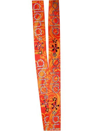 Orange Cream Aloha Rhinestone Lanyard 21""