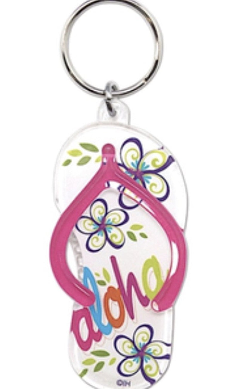 Acrylic Hawaiian Beach Slipper Keychain