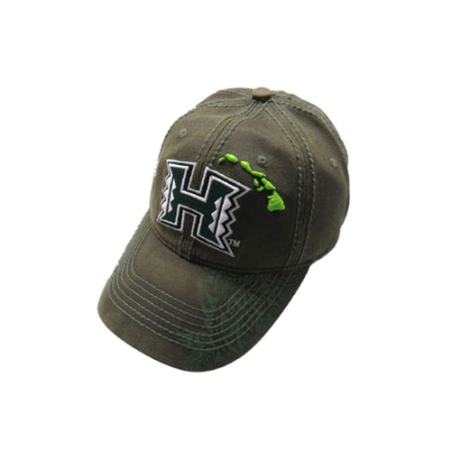 UH Hawaii Rainbow Warriors Tribal Dark Olive Green Island Baseball Cap