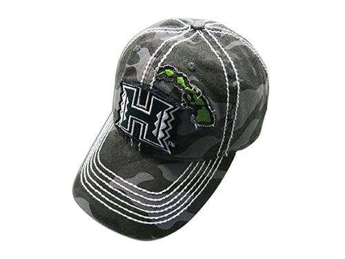 University Hawaii Warriors Camo Baseball Hat Cap