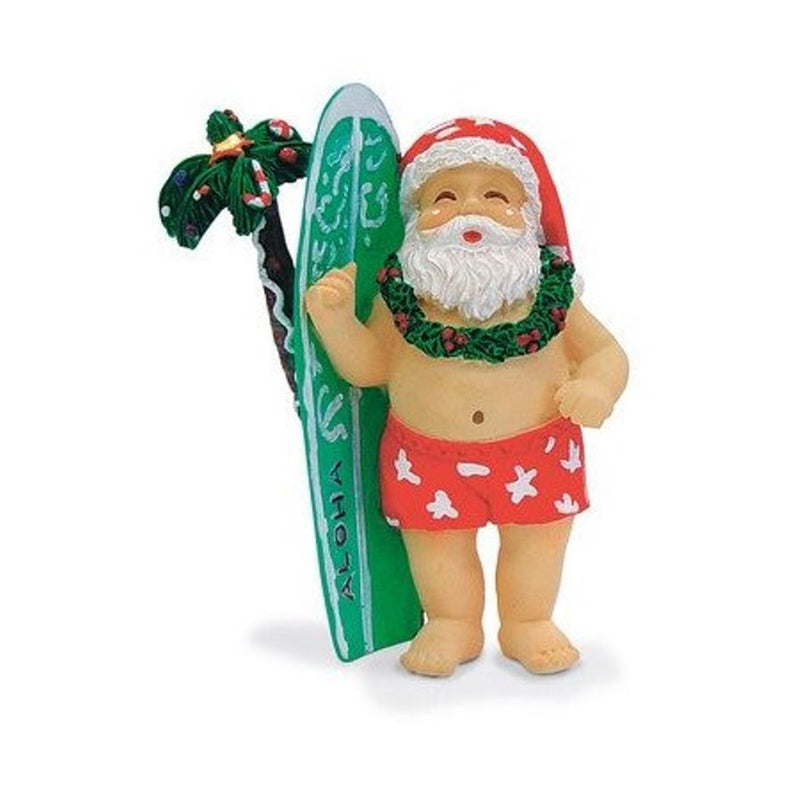 Hawaiian Surfing Santa & Surfboard Ornament