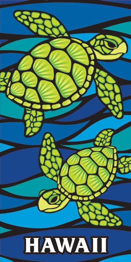 Hawaii Style Beach Towel Blue Honu Turtle Sea Glass