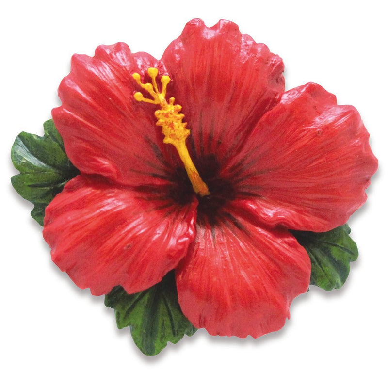 Hand-Painted Resin Ornaments HIBISCUS RED