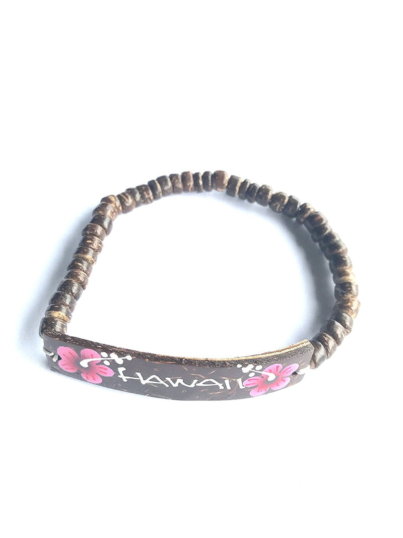 Hawaiian Coconut Hand Painted Flower Bracelet (Hawaii Fuschia Flower)