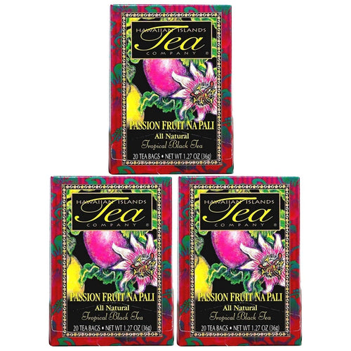 Hawaiian Islands Passion Fruit Na Pali Tropical Black Tea, All Natural - 20 Teabags Per box