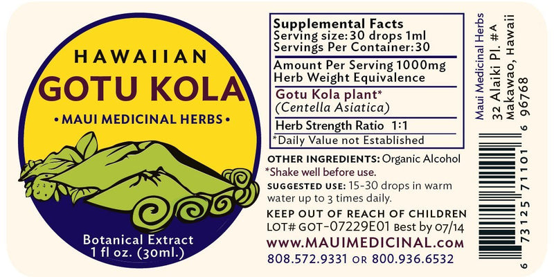 "Gotu Kola Extract 1oz ""Hawaiian"""