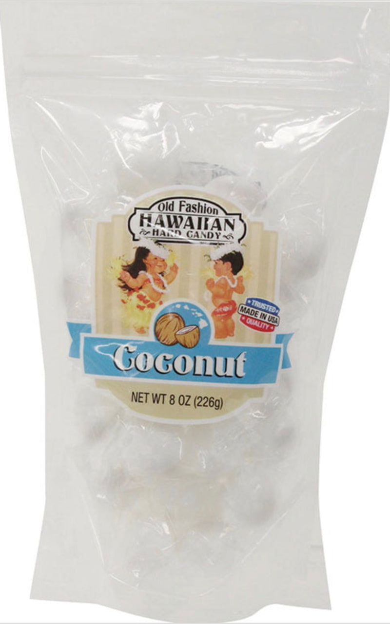 Coconut Old Fashion Hard Candy Hawaii, 8 Ounce Resealable Bag