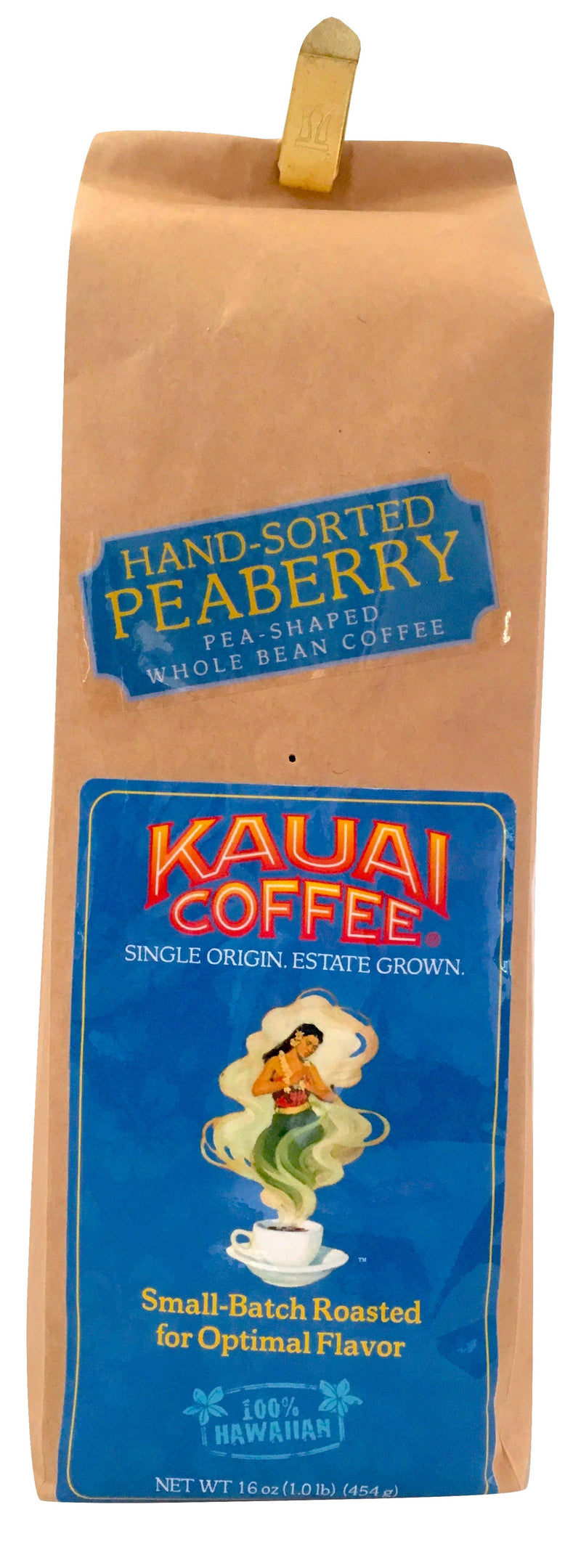 Kauai Coffee 100% Hawaiian Peaberry Whole Bean Coffee - 1lb