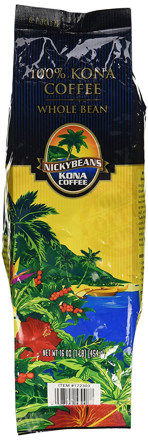 100% Kona Coffee Whole Bean Nicky Beans 1 Pound