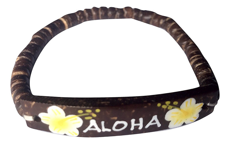 Hawaiian Coconut Hand Painted Flower Bracelet