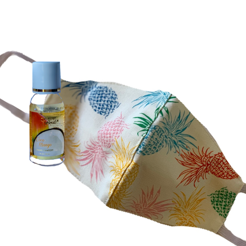 Hawaiian Made Cotton Mask and Purse Sized Coco Mango Hand Sanitizer Set (Choose Design)