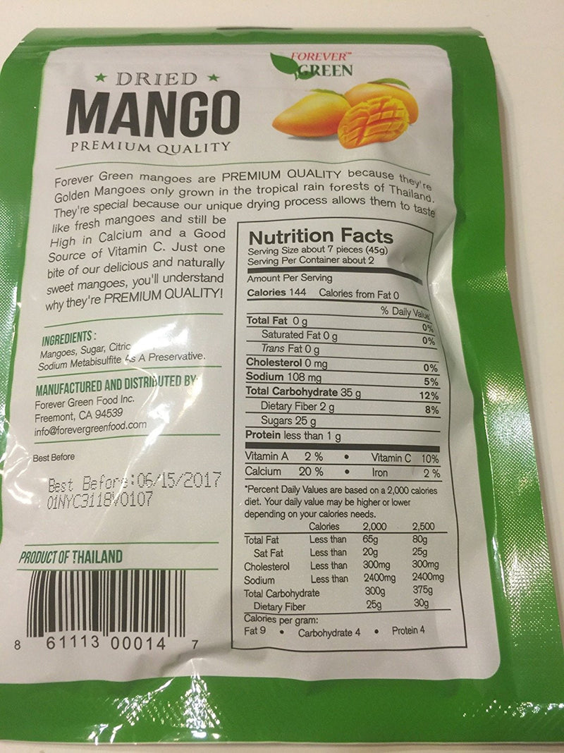 Forever Green Dried Premium Quality Mango 3.5 oz package