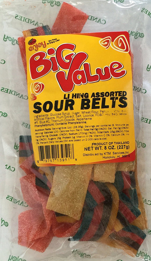 Enjoy Big Value Li Hing Assorted Sour Belts 8 oz.