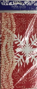 Great Lines Hawaiian Print Thick Paper Red Holiday Gift Bags (6 pk)