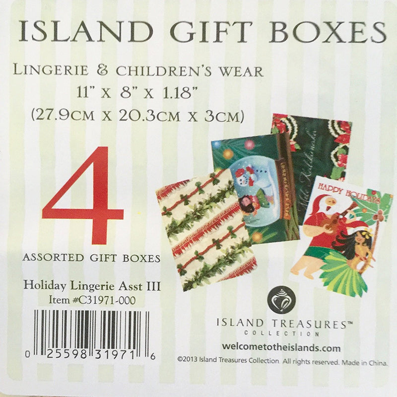 Island Treasures Hawaiian Mele Kalikimaka Holiday Present Boxes