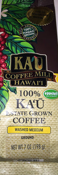 Kau Coffee Mill Hawaii 100% Kau Estate Grown Coffee Washed Medium Ground 7 oz.