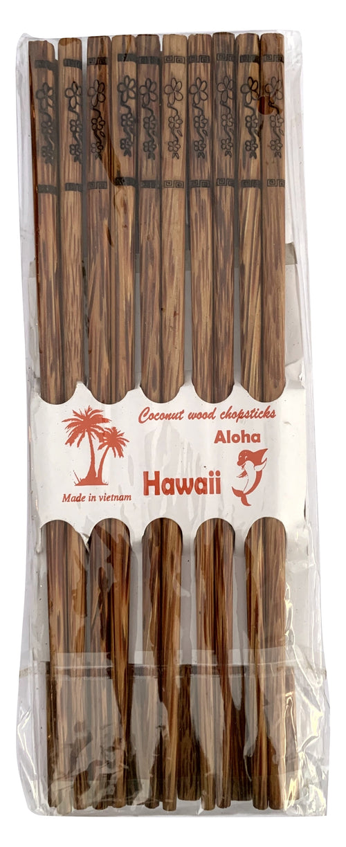 Aloha Hawaii 10 Pair Package Plumeria Floral Designed Coconut Wood Chopsticks