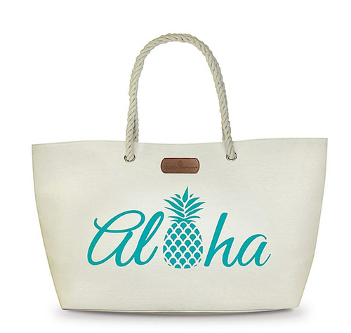 Aloha Pineapple Roomy Rope Handle Beach Tote Bag