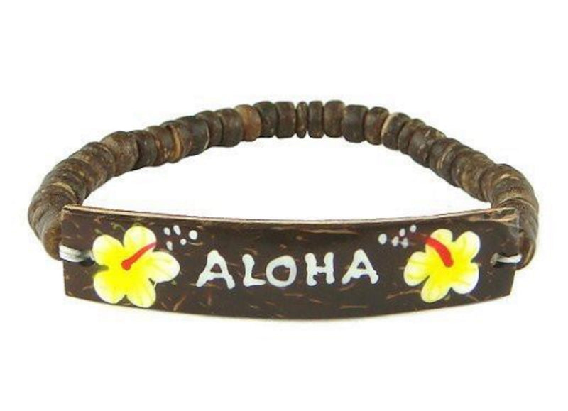 "Hawaiian ""Aloha"" Coconut  Flower Hand Painted Bracelet"