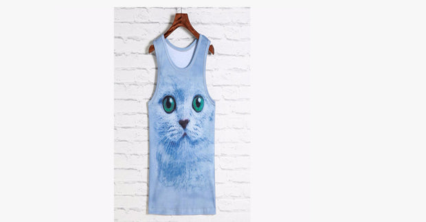 3D Cat Men and Women Tight Sports Vest