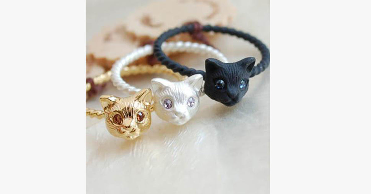 Cute Cat Head Rings  for Women