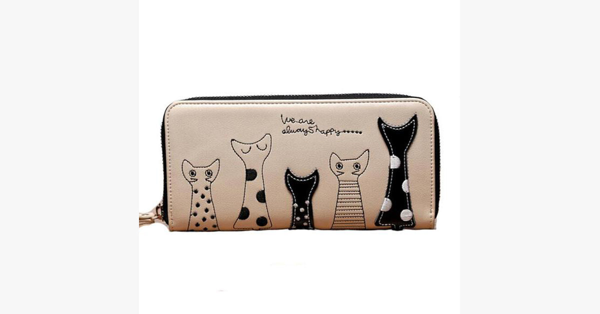 Cartoon Version Of the Cat Long Wallet-White color