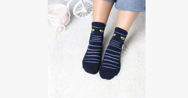 Handsome Cartoon Cat Footprints Cotton Socks