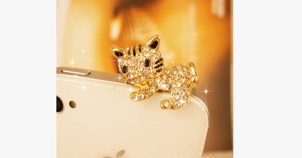 Gold Cute Crystal Cat Dust Plug