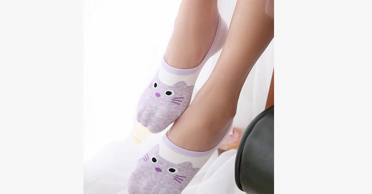 Kitty Face Cotton Boat Socks