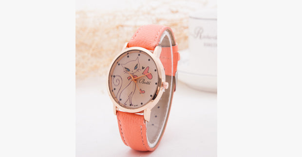 Cat Fashion Cartoon Watch-Orange color