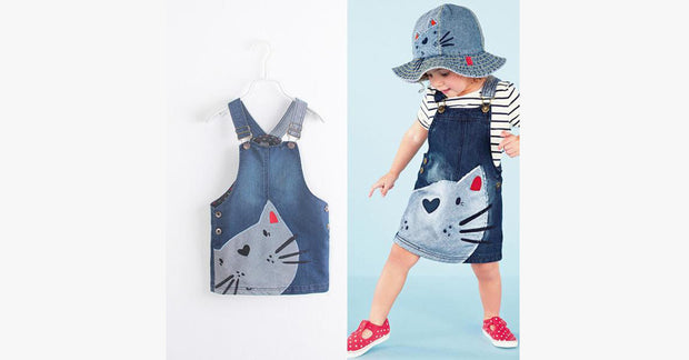 Cute Cat Printing Girls Denim Strap Dress