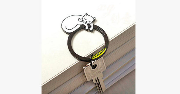 White Cat Keychain