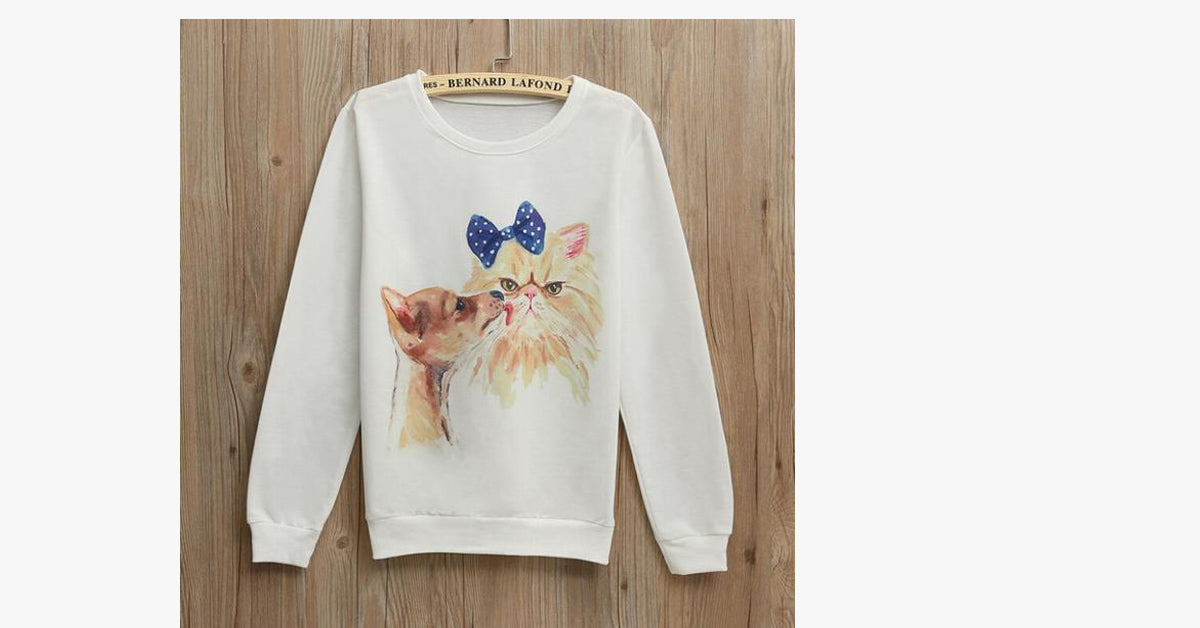 Cat and Dog Crewneck Cartoon Sweater