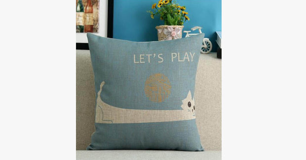 Let's Play Cat Pillow Cover