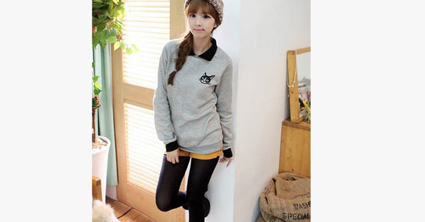 Cute Cat Printed Loose Hoodie