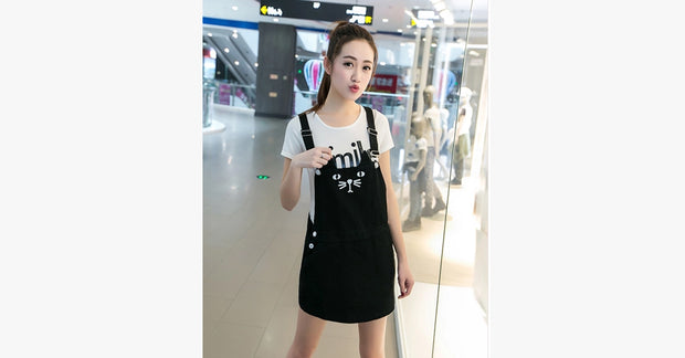 Cute Stereo Cat Ear Female Braces Skirt Dress